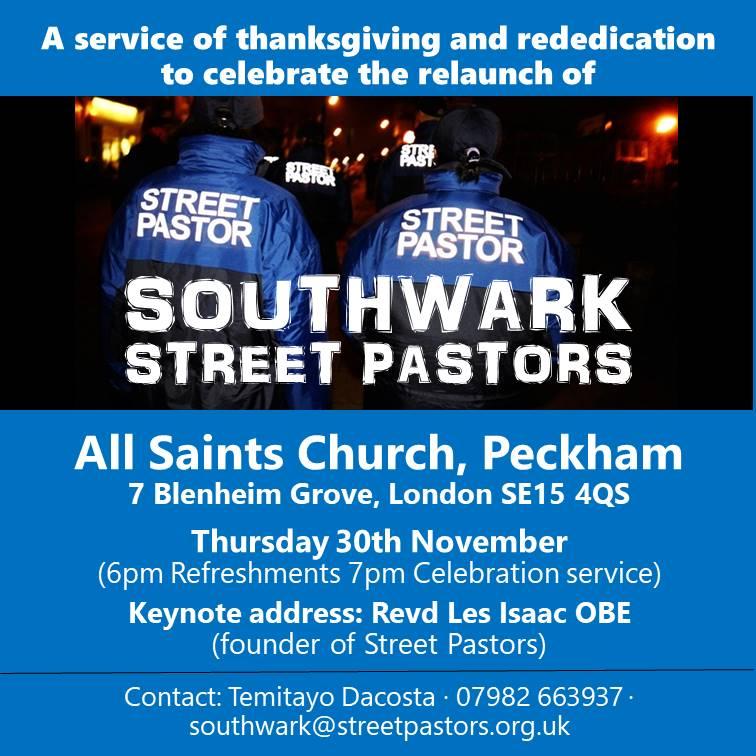 Southwark Street Pastors Relaunch Event